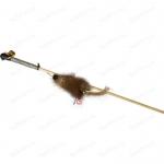 GoSi Махалка Мышка на веревке дразнилка для кошек норка разноцве